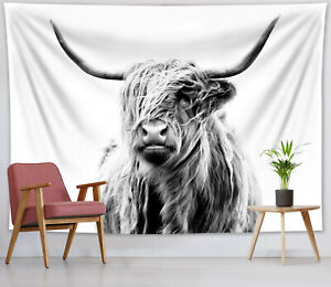 Western Highland Cow Tapestry Grey Yak Printed Wall Art Hanging Bedspread Cover