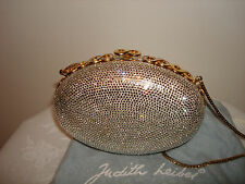 JUDITH LIEBER Silver Crystal Evening Oval Purse Bag Chain Comb Mirror Wallet Set