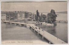 Switzerland postcard - Geneve, Pont et Hotel des Bergues - P/U 1910 (A7)