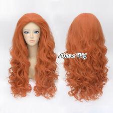 Brave Merida 60cm Orange Locken Damen Ladieshair Cosplay Perücke Wig ohne Pony