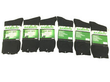 6 Pairs 98% BAMBOO SOCKS Men's Heavy Duty Premium Thick Work BLACK-Size 11-14
