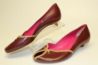 Neely Mack NEW Italy Made Womens 37 7 Brown Leather Peep Toe Kitten Heels Shoes