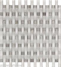 10SF- Ocean White Matte Polish WAVY Glass Mosaic Tile Kitchen Backsplash Bath