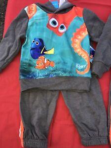 Disney Pixar FINDING DORY TODDLER 2-PIECE HOODED Fish Fin PANT SET Jacket New