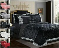 Crushed Velvet Quilted Bedspread With Pillow Shams Double King Super King  Size