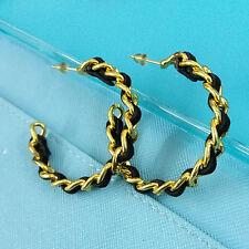 Black Pu Twisted Trim Huggie Hook Earrings Vintage Womens 4 Cm Golden Big Ring