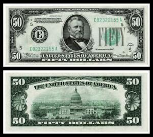 1934-A $50 DOLLAR BILL  FEDERAL RESERVE NOTE ~~ ~ABOUT UNCIRCULATED
