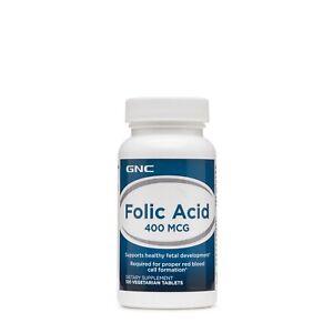 GNC Folic Acid 400mcg 100Caps Supports Healthy Fetal Development and Red Blood C