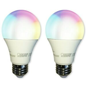 2-PACK FEIT Smart Light Bulb Color Changing Dimmable Tunable White WiFi LED A800
