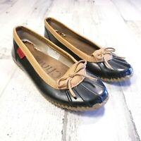 Chooka Womens Sz 9 Duck Skimmer Black Tan Low Top Rain Boots Shoes