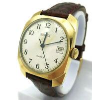 Vintage Wostok Men's Watch Gold Plated Retro USSR Wristwatch Date Russian Luxury