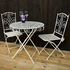 3PC CREAM BISTRO SET OUTDOOR GARDEN PATIO FURNITURE SET TABLE & 2 CHAIRS FOLDING