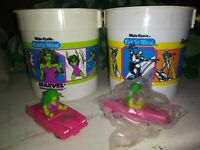 she-hulk and silver surfer white castle bucket with cars. RARE! Marvel