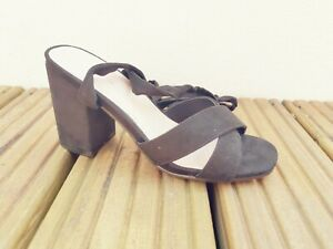 Ladies Black Sandals Block Heel Ex High Street *Brand New* Sizes 4 5 6 7 8