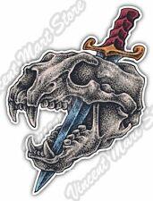 "Animal Dog Skull Crossbones Bayonet Knife Car Bumper Vinyl Sticker Decal 4""X5"""