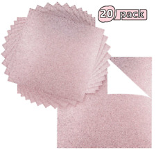 """Premium 20 Sheets Ground Up Creations Glitter Cardstock 12"""" x 12"""" Rose Gold Pink"""