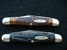 Vintage Case Tested XX (2) 6208 Half Whittler Knives Green Bone & Rough Black VG