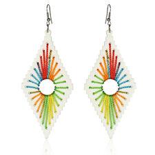 1Pair Women Rhombus Rainbow Rope Pendant Charm Alloy Dangle Earring Jewelry Gift