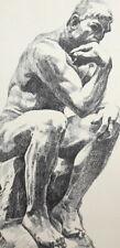 Vintage nude man portrait print