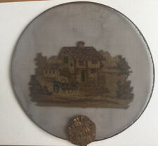 Antique  . Wool Work  Embroidered On Mesh Picture Of A Cottage. Rural. Scene.
