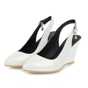 Womens Wedge Heel Shoes White Faux Leather Pointed Toe Slingback Pumps US Size 7