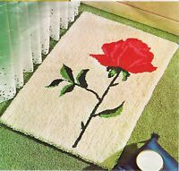 Vintage Aunt Lydias Punch Needle Rug or Wall Hanging Canvas Pattern Cabbage Rose