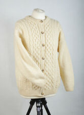 P632/47 Highland Home Industries Wool Chunky Cable Knit Cardigan,size M UK12/14