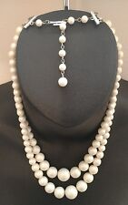 Double Strain Womens Pearl Bead Necklace Ladies