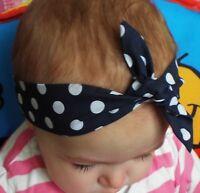 NAVY BLUE AND WHITE POLKADOTS SPOTS HEADWRAP WRAP HEADBAND KNOT BOW BABY GIRLS