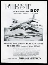 1954 American Airlines DC-7 plane over USA route map vintage print ad