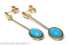 9ct Gold Turquoise oval Long drop Earrings Made in UK Gift Boxed Valentine