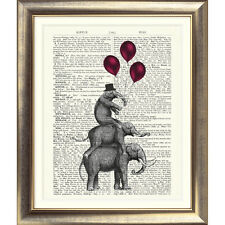 ART PRINT ORIGINAL ANTIQUE BOOK PAGE OLD Dictionary Vintage ELEPHANT Picture Wal