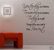Yesterday History arte de pared de vinilo de cita Pegatina Dormitorio