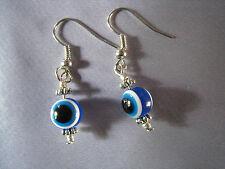 Silver earrings Greek evil eye good luck charms blue white black Made in GR ELGR