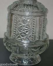 CLEAR GLASS 1960'S INDIANA GLASS TWO PIECE FAIRY LAMP - STARS AND BARS PATTERN