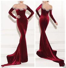 Mermaid Prom Gowns Long Sleeve Velvet cocktail Neckline Evening Pageant Dress
