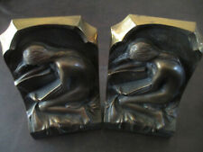 VINTAGE BRONZE NUDE READING BOOKENDS