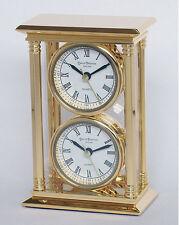 MANTILLE / horloge de bureau - 24K plaqué or laiton massif - 2 x tête /