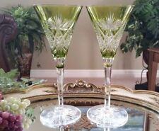 (2) Vintage VAL ST LAMBERT Green Cut to Clear Crystal Champagne Flute Glasses