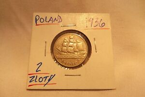 1936 POLAND 2 ZLOTY 15th ANNIVERSARY OF GDYNIA SEAPORT .750 SILVER COIN