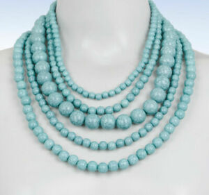 """NWT BAUBLEBAR Globe Faux Turquoise Multi Strand Layered Necklace 18"""" ~RV $36~"""
