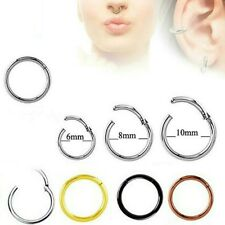 HINGED PIERCING CLICKER HOOP SLEEPER EARRING EAR RING TRAGUS NOSE STAINLESS LIP