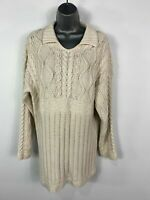 WOMENS NEXT CREAM KNITTED COLLARED WARM WINTER JUMPER SWEATER PULL OVER SIZE M/L