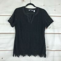 Isaac Mizrahi Live Split Neck Lace Knit Tunic Top Woven Trim Black Womens M