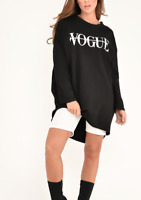 Ladies Vogue Slogan Print Baggy Oversized Sweatshirt Jumper High Low Dress Top