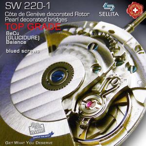 MOVEMENT AUTOMATIC SELLITA SW220-1, TOP GRADE BLUE SCREWS - COMPATIBLE ETA 2836