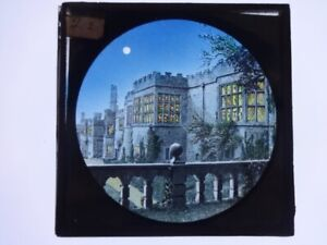 Glass Magic lantern slide coloured old building