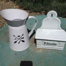 Enamel Allumetts match holder and jug