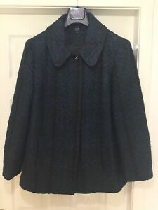 Isle Ladies Coat UK 18 Boucle Teal Green Blue Lined