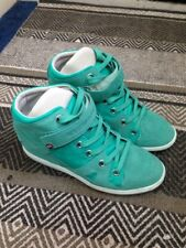 Superdry wedge trainers sneakers real suede turquoise mint green UK 7 ex cond